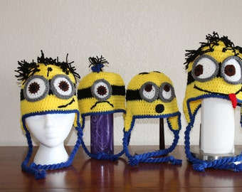 Minion hat, Crochet Minion hat, adult, child, toddler Minion hat, one or two eyed minion, despicable me hat, crochet minions, Halloween hat