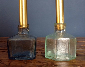 Glass Bottle Candle Holders, Candles, Quirky, Antique, Candle sticks apothecary.