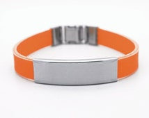 Orange Silicone Bracelet with Personalized Engraved Stainless Steel ID Plate | Tag & Adjustable Closure