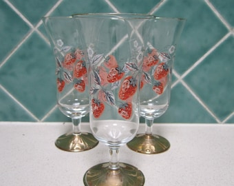 3 vintage gold stem champagne/Parfait glasses - 1960's - Strawberries
