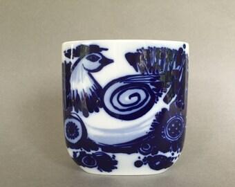 Rosenthal Studio Line ,designer : Björn Wiinblad. Blue Bird ,serie, Paradise bird / Peacock  porcelain vase. 1970s  West Germany .