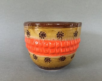 "Italian small Planter, cute orange, beige, chocolate brown Mid Century ceramic planter  from the 1970s  . Italy (,, Bitossi ""Era.)"