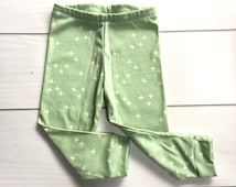 Gender neutral mint and white Modern baby cross leggings,   new sizes available for 0-24 months!