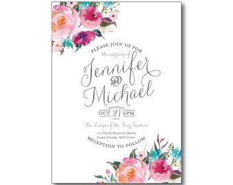 Floral Wedding Invitation - Watercolor Floral - Floral Wedding - Rustic Wedding - Watercolor Flower - Printable Wedding Invitation