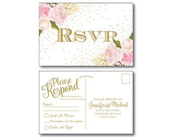 Rustic Wedding RSVP Postcard - Country Chic - Gold Sparkles - Floral Wedding - Rustic Wedding - RSVP Postcard - Wedding Postcard - RSVP