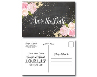 Chalkboard Wedding Save the Date, Gold Sparkles, Floral Wedding, Chalkboard Wedding, Save the Date, Wedding Postcards, Save Date #CL127