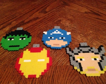 Perler Bead | Marvel | Superhero | Christmas | Ornament | Set | Avengers | Hulk | Thor | Iron Man | Captain America