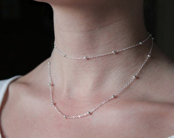Double Wrap Layered Silver Ball Chain Necklace // Silver Beads Chain Necklace //Multi Strand Long Necklace Silver Chain