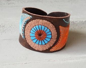 Genuine leather boho cuff bracelet. Brown Orange Blue. Leather jewelry.