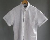 Vintage 90s Short Sleeve Blue White Striped Oxford Oversize Oxford Short