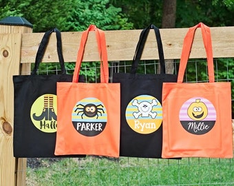 Personalized Halloween Tote Bag, Halloween Bucket for Kids, Kids Halloween Treat Bag, Trick or Treat Bag, Custom Name Tote for Halloween