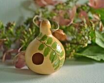 Tiny Fairy Aerie- Miniature Gourd Birdhouse - Spinner Gourd Craft - Original Folk Art