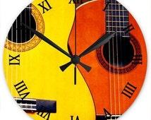 unique guitar clock related items etsy. Black Bedroom Furniture Sets. Home Design Ideas