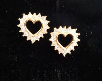 Heart-Shaped Rhinestone Stud  Earrings