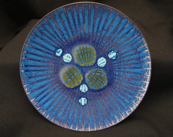 ANNEMARIE DAVIDSON ENAMEL Biomorphic Blue and Gold Jewel Dish