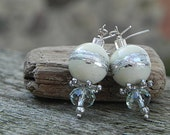 Winter Earrings White Earrings Lampwork Earrings Glass Bead Earrings Glass Earrings Beadwork Earrings White Jewelry Silver Earrings Handmade