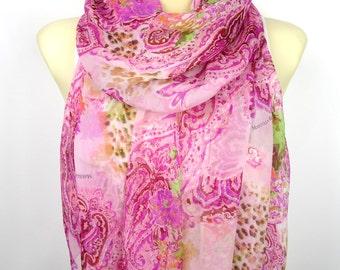 Floral Silk Scarf - Pink Printed Scarf - Women Fashion Scarf - Unique Fabric Scarf - Original Boho Scarf - Gift for her - Spring / Summer