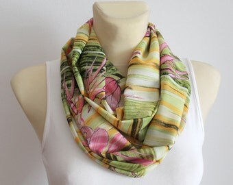 Women Circle Scarf Fall Circle Scarf  Floral Infinity Scarf Autumn Circle Scarf Birthday Gift for her Summer Outdoors Summer Party Mum Gift