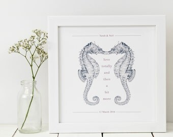 Seahorse Print; Personalised Print; Anniversary Gift; Seahorse Gift; Seahorse Art; Seahorse Love Gift; Wedding Gift; PAP025