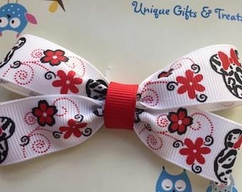 Minnie Mouse Zebra Hair Bow