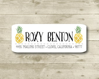 Pineapple, Return Address Label, Custom, MATTE, Fruit, Festive, Typography, Watercolor style