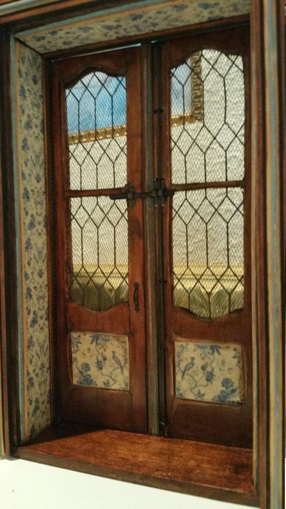 Dollhouse miniature door 18th century french mahogany screen for Mahogany french doors