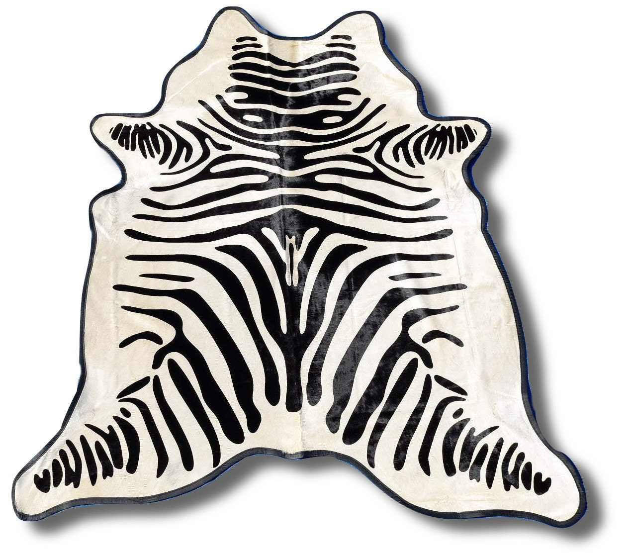 H-766 Pefect Zebra Cowhide Rug With Leather Border Black