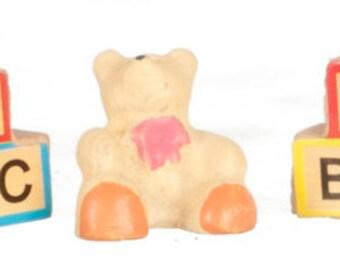 DOLLHOUSE MINIATURES ABC Blocks And Bear #G8043