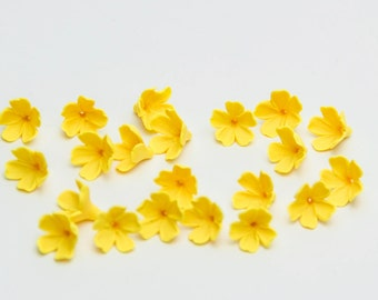 20 flower Beads, Polymer Clay Beads,  yellow flowers 9-10mm