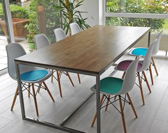 Table, large table, 2,2 m x 1 m, office desk, dining table, Industrial Oak Walnut