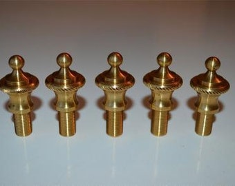 A set of 5 solid brass antique style rope edged finials RR1