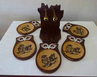 Vintage Mid Century Wood and Cork Owl Coasters - FREE SHIPPING