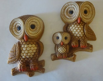Vintage 1970's Owl Plaques Wall Decor - FREE SHIPPING