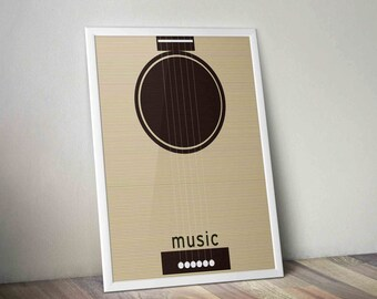Printable Retro Guitar Print - Custom Text and Colors