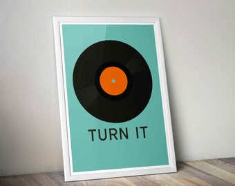Printable Retro Vinyl Record Print - Custom Text and Colors