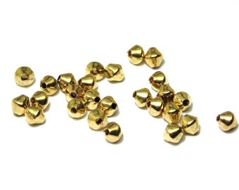 25x Gold Plated Bicone Metal Beads 4 mm