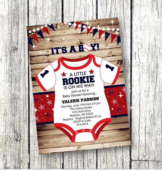 Sports Baby Shower Invitation Rookie Onesie Red White And Blue