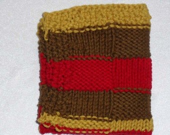 Hand Knit Washcloth, Red Brown & Mustard Multi