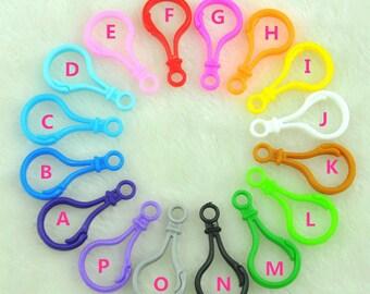 20pcs/50pcs/100pcs/200pcs Multicolor Plastic Key Chain Holders Clasps, Pick Your Amount and color --G1865