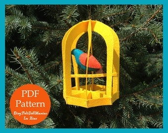 Bird in the Cage. Felt Ornament. PDF Pattern & Tutorial. Home Decoration.