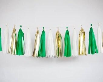 Ivory Gold Kelly Green Tassel Garland, Green Garland, Kelly Green Party Decor, Green Baby Shower, Green Bridal Shower, Green Wedding Decor