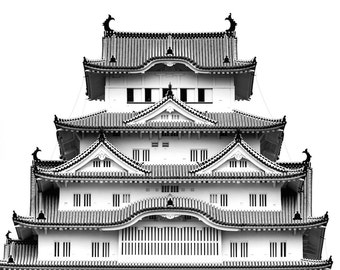 Black and White Home Decor, Himeji Castle Print, Himeji Castle Photography, Himeji Castle Art, Zen Decor