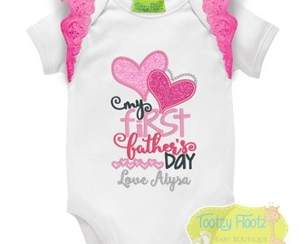 Father's Day Gift - Personalised Double Hearts - Hot Pink Flutters - Onesie / Tee / Bodysuit - First Father's Day / Daddy / 1st Father's Day