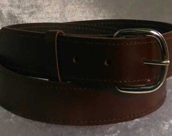 "Brown leather belt with 1.25"" nickel buckle Made to Order"