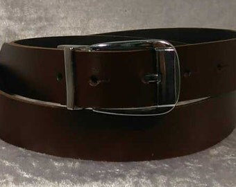 Brown leather belt with 30mm buckle and belt loop Made to Order