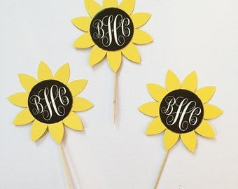 Sunflower Toothpicks / Cupcake Toppers (12 count)