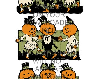Set of 3 - 1920s Halloween Pumpkin Face People Fence Decoration - Instant Digital Download