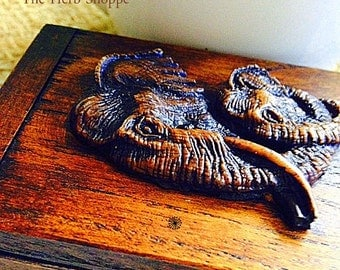 Handcrafted  Resin Elephant Teak Wood Teakwood Wooden Box