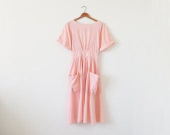 80s vintage peach dress / cut out back dress