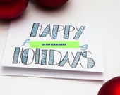 Hand illustrated Funny Adult Holiday Card, NSFW, Happy Fing Holidays, happy fucking holidays blank inside, hand lettered christmas card